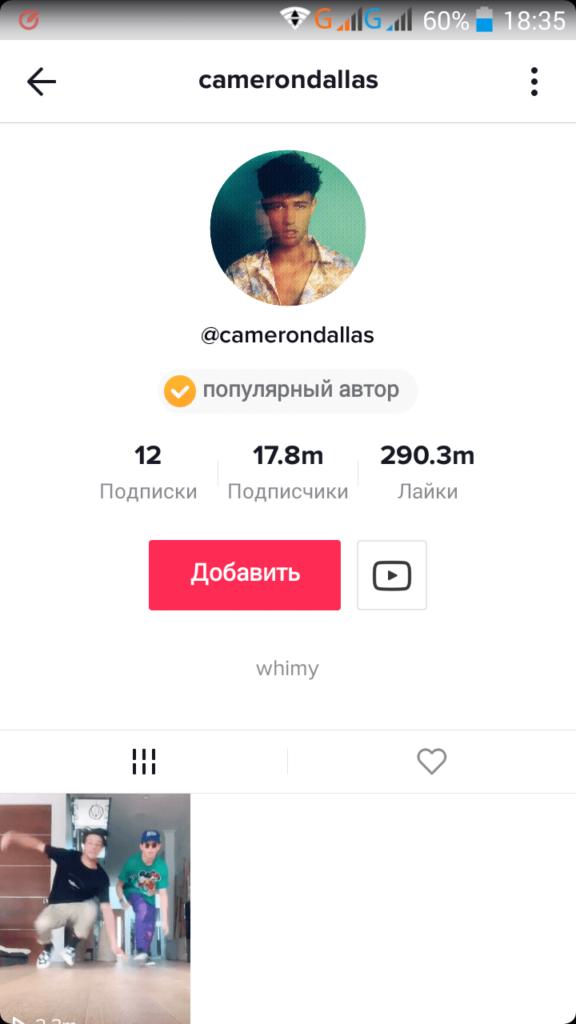 Аккаунт Кэмерона Далласа в Тик Ток